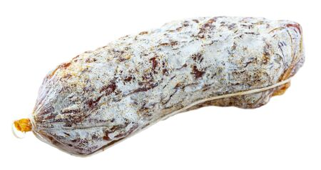 One traditional italian dry cured sausage Salamini italiani alla cacciatora. Isolated over white background