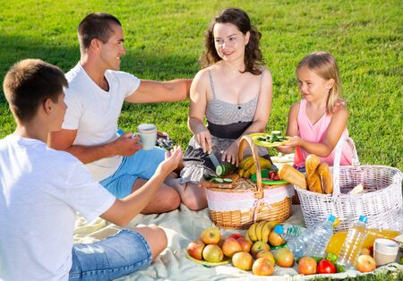 Happy young woman with her husband and two children enjoying picnic on green meadow together