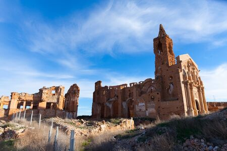 Remains of old church tower on ruins of historic town of Belchite, Zaragoza, Spain