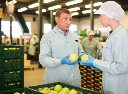 Dissatisfied foreman reprimanding workwoman about quality of apples packed in boxes in sorting factory