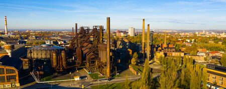 View from drone of old abandoned blast furnaces of Vitkovice Iron and Steel Works, Ostrava city, Czech Republic