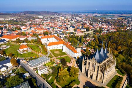 Autumn cityscape of Kutna Hora with famous gothic Roman Catholic church of Saint Barbara and Baroque building of Jesuit College, Czech Republic   Zdjęcie Seryjne
