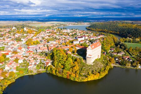 Aerial view of medieval castle Plumlov. City of Plumlov. Czech Republic