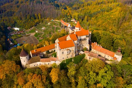 Medieval castle of Pernstein on a hill in the forest. South Moravian region. Czech Republic Zdjęcie Seryjne