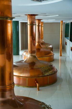 Beer brewing hall in brewery Stock fotó