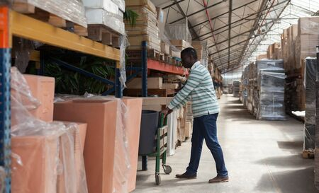 African American logistic warehouse owner arranging boxes. Concept of small business