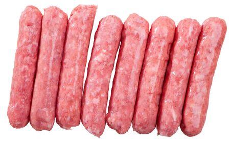 Botifarra (o llonganissa) cruda de carne de cerdo picada. Salchichas populares catalanas. Aislado sobre fondo blanco Foto de archivo