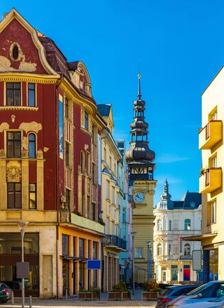 Views of the city of Ostrava. Streets and squares on a bright fall day. Czech Republic