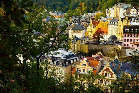 Picturesque autumn cityscape of historical centre of Karlovy Vary overlooking Castle Tower, Czech Republic Reklamní fotografie