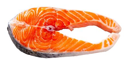 Raw salmon fillet. Isolated over white background