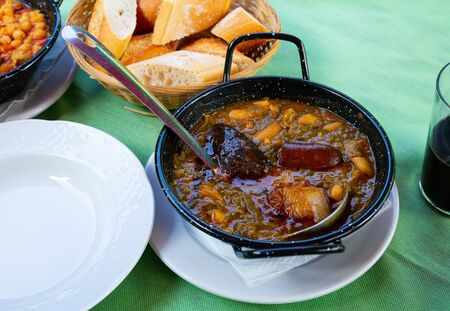 Pote Asturiano – thick pottage with sausage, beans  and vegetables