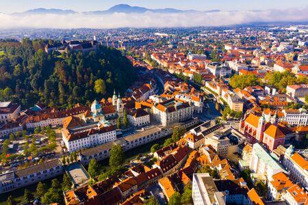 Panorama of the Slovenian capital Ljubljana in morning