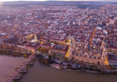 City Zaragoza on dawn. Aerial view. Spain Banque d'images