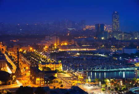 view to Barcelona in summer night. Spain Stock Photo