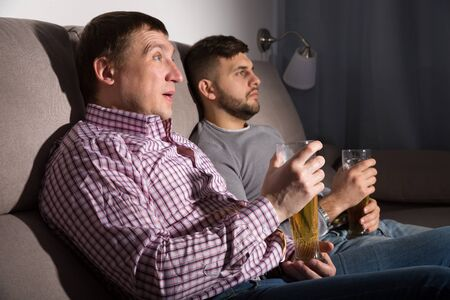 Two men resting at home, sitting on sofa with glass of beer, watching tv Zdjęcie Seryjne