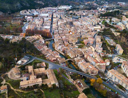 Aerial view of typical town of Basque Country. Estella-Lizarra. Spain Redactioneel