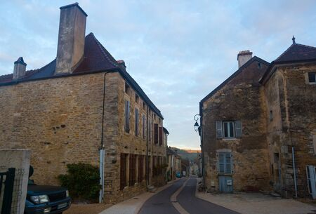 View of streets of old  French town  Bligny-sur-Ouche, located in  France
