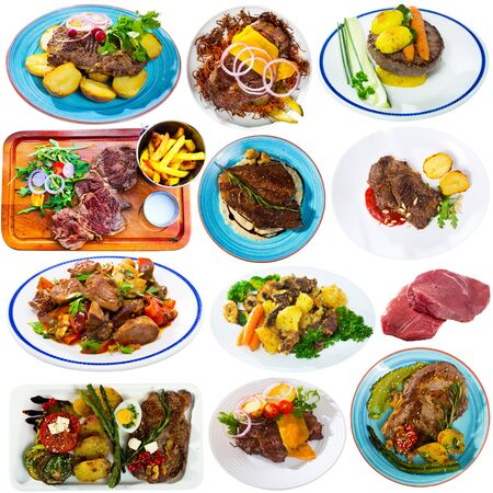 Set of various plates of tasty beef steaks and chops with vegetables isolated on white background