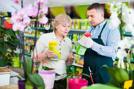 Two  diligent  glad gardener are choosing substances for care of flowers in greenhouse.