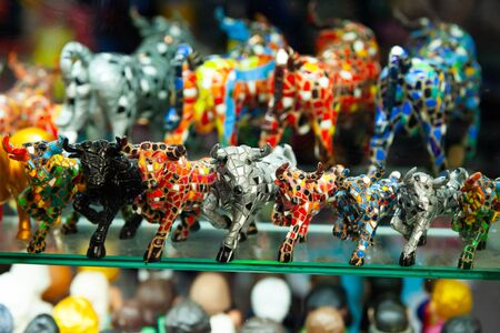Souvenirs of the Barcelona mosaic on store shelves