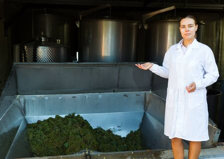 Confident female winemaker standing near mechanical grapes destemmer in winery Foto de archivo