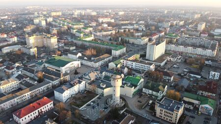 Panoramic aerial view of Baranovichi cityscape with buildings and streets, Belarus