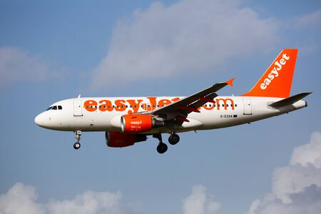 BARCELONA,  SPAIN - JANUARY 23, 2020: Image of aircraft of company EasyJet during landing