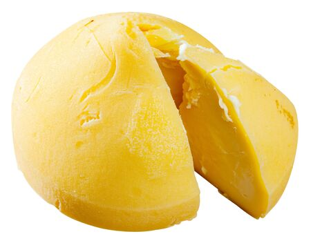 Traditional Galician semi-hard cheese Tetilla from cow milk with rich aroma and delicate flavor. Usually served as dessert. Isolated over white background Banque d'images