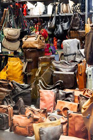 Handmade leather bags and backpacks in european shop Zdjęcie Seryjne