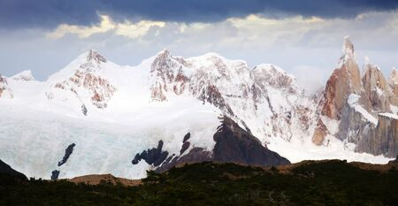 View on Cerro Torre Mount and glaciers of the Southern Patagonian Ice Field in Argentina Zdjęcie Seryjne