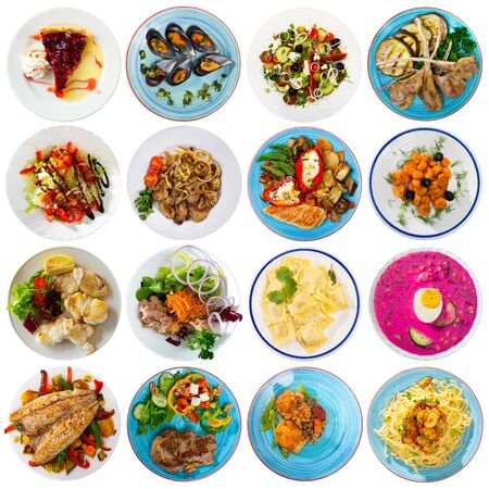 Collage of different dishes on round plates Standard-Bild