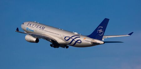 BARCELONA, SPAIN - FEBRUARY 02, 2020:  Airbus A330-243 EC-LQP of Spanish Air Europa airline as member of SkyTeam alliance soaring from El Prat Josep Tarradellas Airport on cloudy winter day Sajtókép