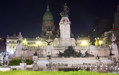 Views of central Palace of National Congress in capital city Buenos Aires in evening