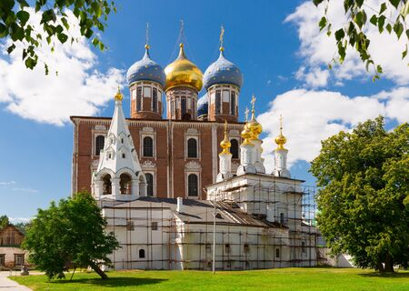 Assumption Cathedral and Epiphany Church of Ryazan Kremlin in sunny day, Russia