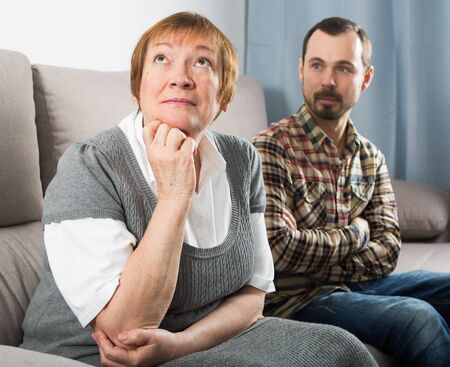 Elderly mother and son quarrel with each other and find out relationship