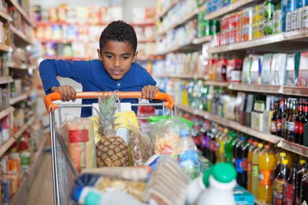 Portrait of cute African kid with shopping cart full of food products in shop