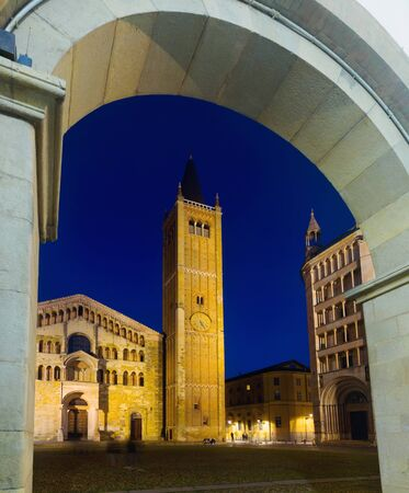 Image of Baptistery and Cathedral of night Parma in Italy outdoors.