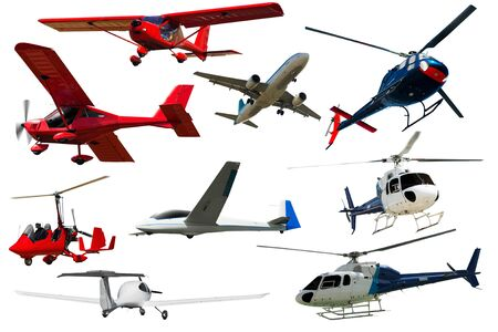 Set of various airplanes and helicopters isolated on white background