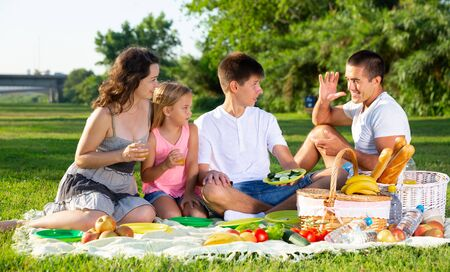 Happy family with two children enjoying picnic on green meadow together Reklamní fotografie