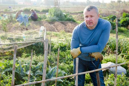 Man  professional gardener with mattock standing near trellis in garden outdoor