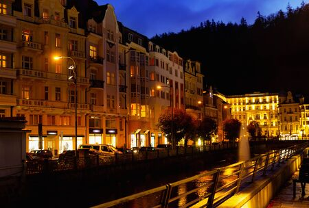 Evening view of the streets of Karlovy Vary. Czech Republic