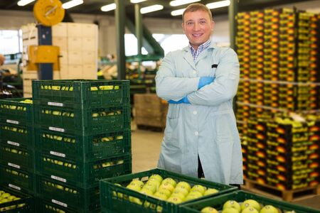 happy young man working with apples in crates and checking quality at apples factory 写真素材