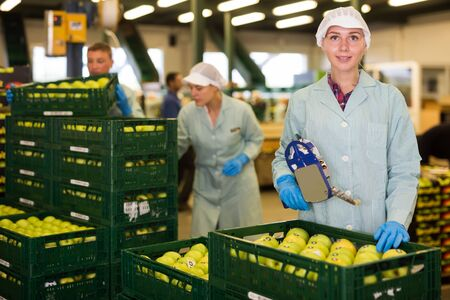 Smiling girl in uniform sticking labels on apples in crates at apples factory