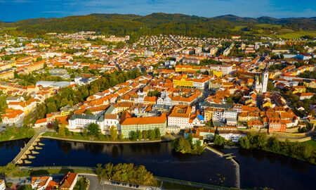 Panoramic view from the drone on the city Pisek. Czech Republic
