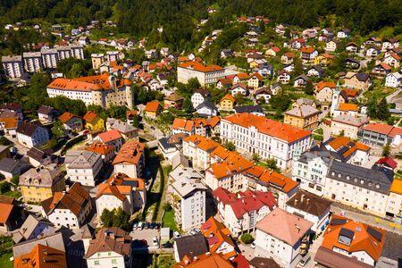Aerial view of historical center of Idrija, Slovenia