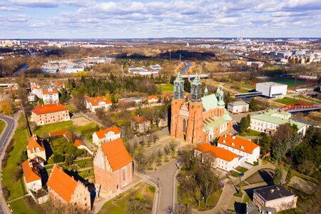 Aerial view of Peter and Paul Cathedral historical landmark in Poznan, Poland Imagens