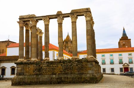 View of remnants of Temple of Diana in centre of historic Portuguese city of Evora