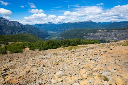 View of slopes and top of mountain Tronador and glaciers of Alerce and Castano Overa, Patagonia, Argentina