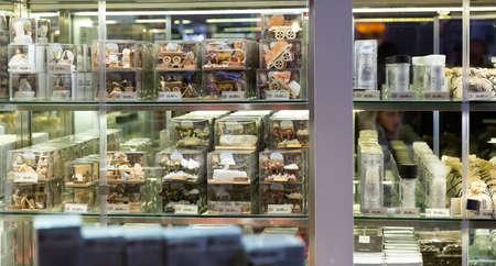 Wieliczka, Poland - March 11, 2020: Souvenir shops at Wieliczka Salt Mine. Wieliczka, Poland