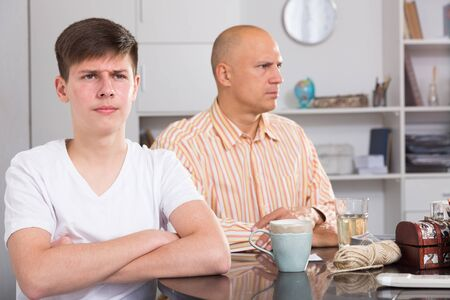 Adult man and his teenage son offended at each other after quarrel